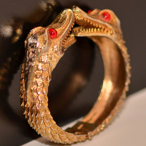 vintage DeNicola alligator crocodile cuff bracelet